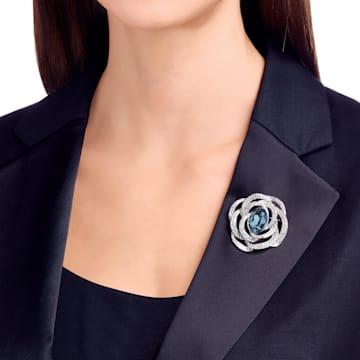 Barret 胸針, 藍色, 鍍白金色 - Swarovski, 5122715
