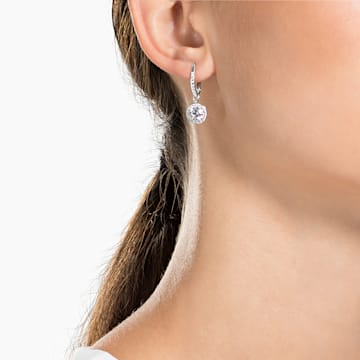 Angelic 穿孔耳環, 白色, 鍍白金色 - Swarovski, 5142721