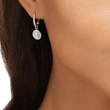 Angelic earrings, Round, White, Rhodium plated - Swarovski, 5142721