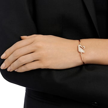 Swan Bangle, White, Rose-gold tone plated - Swarovski, 5142752