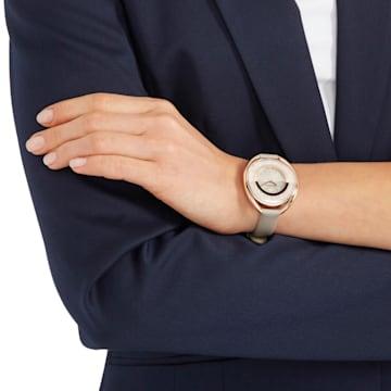 Crystalline Oval 手錶, 真皮錶帶, 灰色, 玫瑰金色調PVD - Swarovski, 5158544