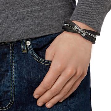 Alto Bracelet, Leather, Black, Mixed metal finish - Swarovski, 5159629