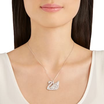 Swan Lake Pendant, White, Rhodium plating - Swarovski, 5169080