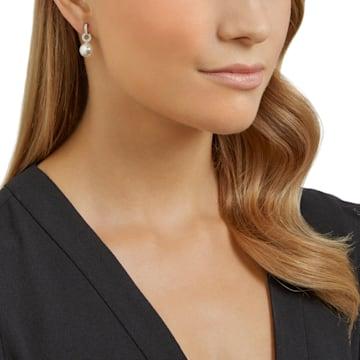 Duplex Pierced Earrings, White, Rhodium plated - Swarovski, 5169247