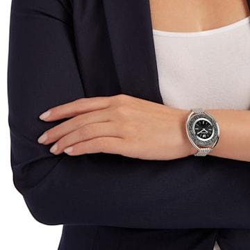 Crystalline Oval 腕表, 金属手链, 黑色, 银色 - Swarovski, 5181664