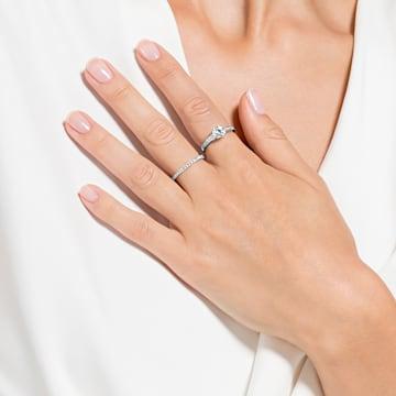 Conjunto de anéis Attract, brancos, banhados a ródio - Swarovski, 5184979