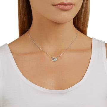 Swan Pendant, White, Rhodium plated - Swarovski, 5187404