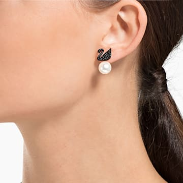 Swarovski Iconic Swan 耳托耳环, 天鹅, 黑色, 镀玫瑰金色调 - Swarovski, 5193949