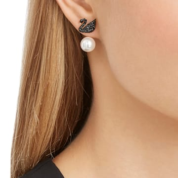Τρυπητά σκουλαρίκια με περίβλημα Swarovski Iconic Swan, μαύρα, επιχρυσωμένα σε χρυσή ροζ απόχρωση - Swarovski, 5193949