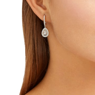 Boucles d'oreilles Attract, blanc, Métal rhodié - Swarovski, 5197458