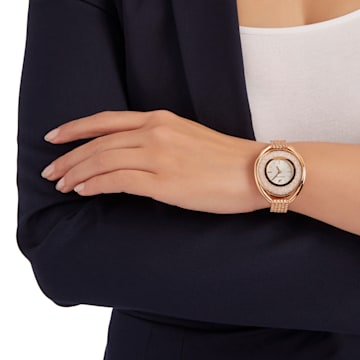 Hodinky Crystalline Oval s kovovým páskem, bílé, PVD v odstínu růžového zlata - Swarovski, 5200341