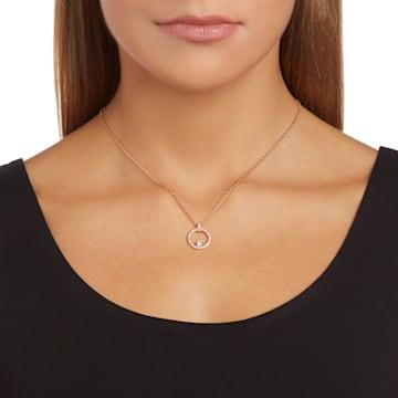 Creativity pendant, Circular, White, Rose-gold tone plated - Swarovski, 5202446