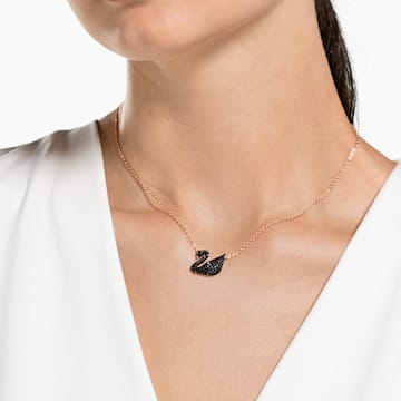 Swarovski Iconic Swan 鏈墜, 黑色, 鍍玫瑰金色調 - Swarovski, 5204134