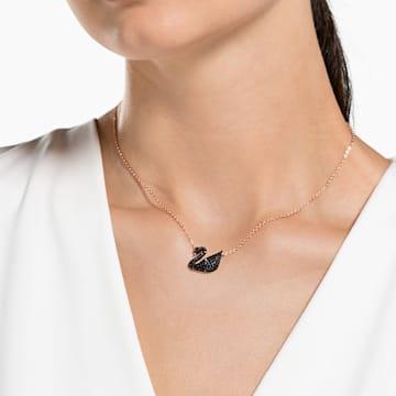 Swarovski Iconic Swan 链坠, 天鹅, 黑色, 镀玫瑰金色调 - Swarovski, 5204134