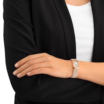 Montre Memories, Bracelet mailles, blanc, PVD doré rose - Swarovski, 5209184