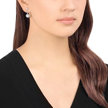 Attract 夾式耳環, 白色, 鍍白金色 - Swarovski, 5213594