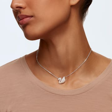 Swarovski Iconic Swan pendant, Swan, Beige, Rhodium plated - Swarovski, 5215034