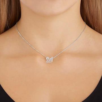 Swarovski Iconic Swan pendant, Swan, Small, Braun, Rhodium plated - Swarovski, 5215038