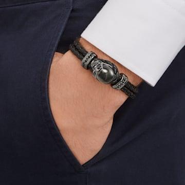 Fan-armband, Leer, Zwart, Bronzen toplaag - Swarovski, 5217218