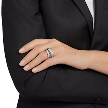 Dynamic Ring, grau, Rhodiniert - Swarovski, 5221439
