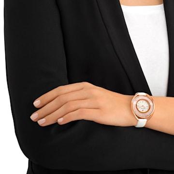 Ρολόι Crystalline Oval, δερμάτινο λουράκι, λευκό, PVD σε χρυσή ροζ απόχρωση - Swarovski, 5230946