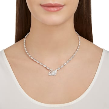 Swan Lake Necklace, Small, White, Rhodium plating - Swarovski, 5240581