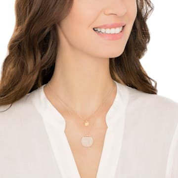 Ginger Layered Pendant, White, Rose-gold tone plated - Swarovski, 5253286