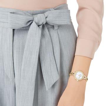 Aila Mini Watch, Metal bracelet, White, Gold-tone PVD - Swarovski, 5253335