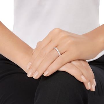 Prsten Vittore XL, bílý, rhodiovaný - Swarovski, 5257490