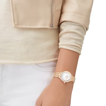 Lovely Crystals-horloge, Metalen armband, Roségoudkleurig PVD - Swarovski, 5261496