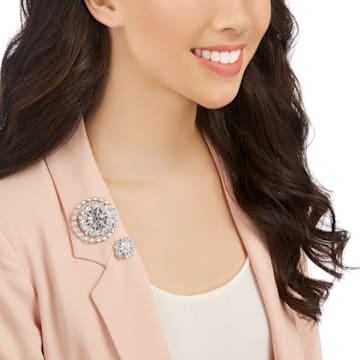 Ginette 胸针套装, 白色, 镀铑 - Swarovski, 5262279
