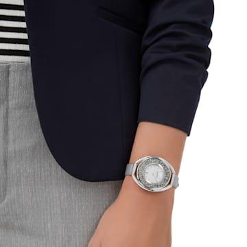 Crystalline Oval Uhr, Gewebe-Armband, grau, silberfarben - Swarovski, 5263907