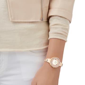 Ρολόι Crystalline Pure, μεταλλικό μπρασελέ, λευκό, PVD σε χρυσή ροζ απόχρωση - Swarovski, 5269250