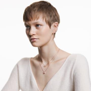 Swarovski Sparkling Dance 项链, 圆形切割, 白色, 镀玫瑰金色调 - Swarovski, 5272364