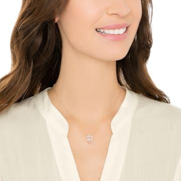 Swarovski Sparkling Dance Heart Necklace, White, Rose-gold tone plated - Swarovski, 5284188