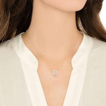 Colier inimă Swarovski Sparkling Dance, alb, placat în nuanță aur roz - Swarovski, 5284188