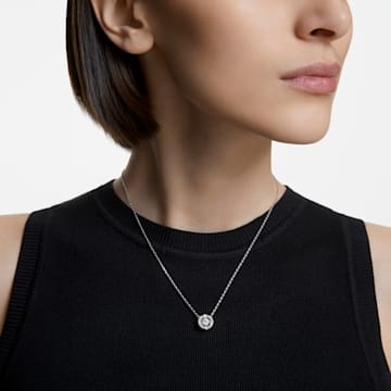 Náhrdelník s kulatým kamenem Swarovski Sparkling Dance, Bílý, Rhodiem pokovený - Swarovski, 5286137