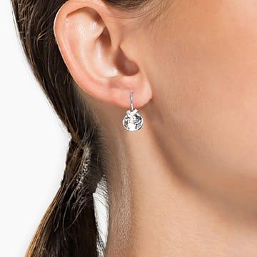 Bella V fülbevalók, Kerek, Fehér, Ródium bevonattal - Swarovski, 5292855