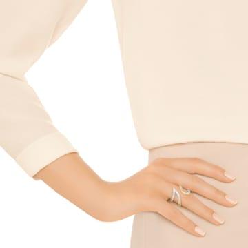 Anello aperto Groove Wide, bianco, placcatura oro - Swarovski, 5294991