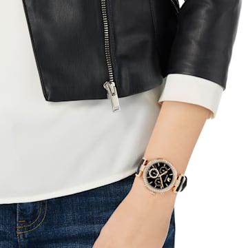 Ρολόι Era Journey, δερμάτινο λουράκι, μαύρο, PVD σε χρυσή-ροζ απόχρωση - Swarovski, 5295320