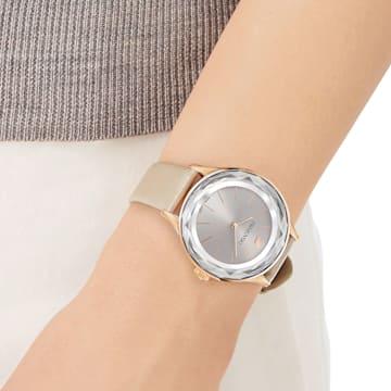 Octea Nova-horloge, Leren horlogebandje, Grijs, Roségoudkleurig PVD - Swarovski, 5295326