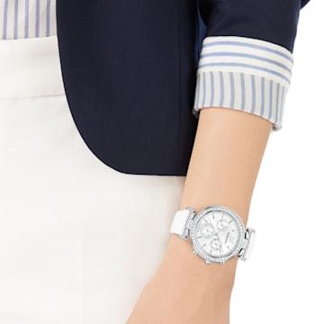 Montre Era Journey, Bracelet en cuir, blanc, acier inoxydable - Swarovski, 5295346