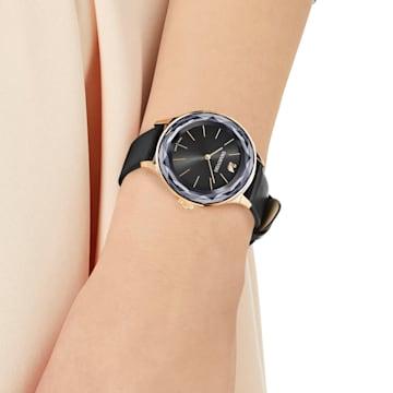 Octea Nova Uhr, Lederarmband, Schwarz, Roségold-Legierungsschicht PVD-Finish - Swarovski, 5295358