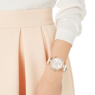 Hodinky Era Journey s koženým páskem, bílé, PVD v odstínu růžového zlata - Swarovski, 5295369