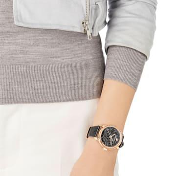 Hodinky Crystaline Hours s koženým páskem, černé, PVD v odstínu růžového zlata - Swarovski, 5295377