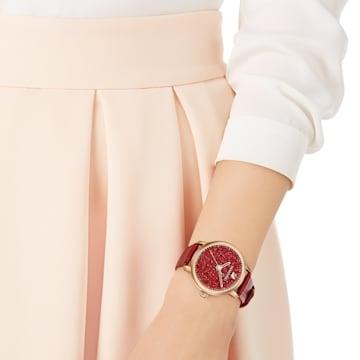 Montre Crystalline Hours, Bracelet en cuir, rouge, PVD doré rose - Swarovski, 5295380
