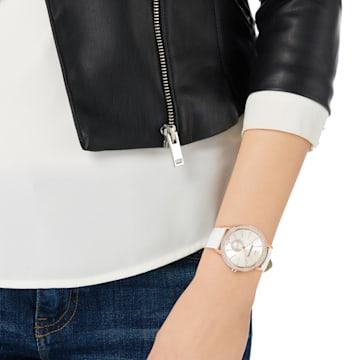 Hodinky Graceful Lady s koženým páskem, bílé, PVD v odstínu růžového zlata - Swarovski, 5295386