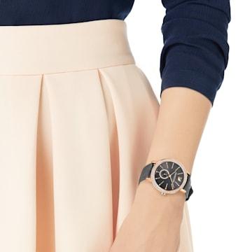 Graceful Lady Watch, Leather strap, Grey, Rose-gold tone PVD - Swarovski, 5295389