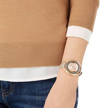 Reloj Crystalline Oval, Correa de piel, beige, tono oro rosa - Swarovski, 5296319
