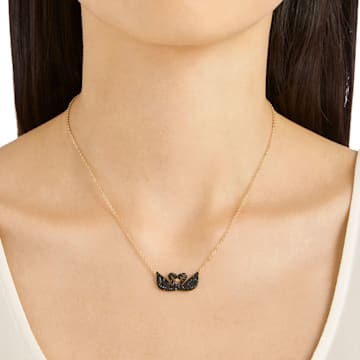 Swarovski Iconic Swan 项链, 天鹅, 黑色, 镀玫瑰金色调 - Swarovski, 5296468